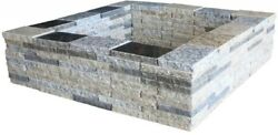 30in Granite Square Fire Pit Kit Outdoor Backyard Garden Home Decor Accent Prop