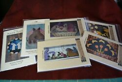 LOT OF 6 WOOL APPLIQUE PATTERNS PENNY RUG RABBIT BUNNY TULIP EASTER EGG SPRING
