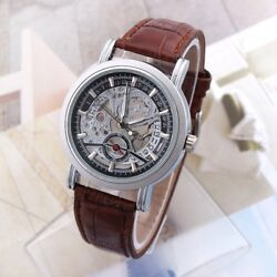 New Men#x27;s Automatic Mechanical Date Waterproof Transparent Skeleton Wrist Watch $18.99
