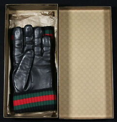 * GUCCI * Black Lambskin Leather Web Detail Italy Cashmere Lined Gloves 8.5S