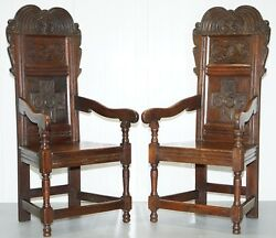 PAIR OF CHARLES II ORIGINAL 1665 DATED WAINSCOT ARMCHAIRS ENGLISH CARVED OAK