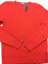 Ralph Lauren Polo Mens Red Cashmere Cableknit Italian Yarn Sweater Sz Small (3k)