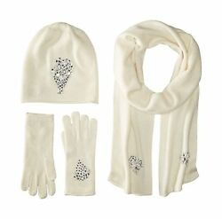 La Fiorentina Women's Jeweled Cashmere Scarf Hat and Glove Set Ivory One Size