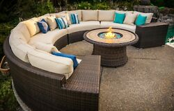Del Mar 5-piece Deep Seating Wicker Curved Modular Outdoor Patio Set W Fire Pit