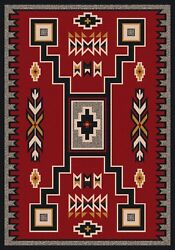 Old Crow Southwestern Decor Red Rustic Lodge Nylon Country Cabin Rug 7'8
