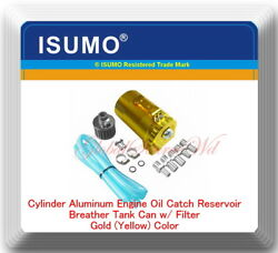 Cylinder Aluminum Engine Oil Catch Reservoir Breather Tank Can w Filter Gold $23.99