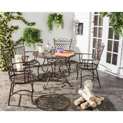 Patio Table and Chairs Set 5 Furniture Rustic Brown Wrought Iron Outdoor Dining