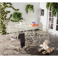 Patio Table and Chairs Set 5 Wrought Iron Furniture White Rustic Outdoor Dining