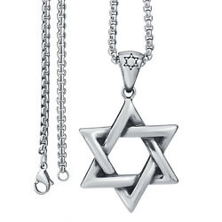 Men#x27;s Silver Star of David Jewish Stainless Steel Pendant Necklace Chain Set $11.99