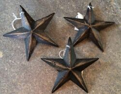Set of 3 DiStReSsEd BLACK BARN STARS 3.5quot; PRIMITIVE RUSTIC COUNTRY DECOR $9.99