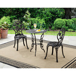 Rose Outdoor Bistro Set 3 Piece Patio Furniture Garden Round Table 2 Chairs New