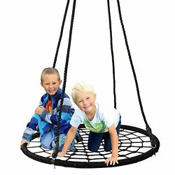 40quot; Kids Round Spider Web Swing Outdoor Tree Swing Seat with Adjustable Hanging $40.99