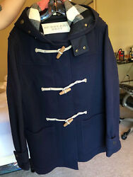 Mens Navy Blue Burberry The Greenwich Duffle Coat L used once. Perfect!