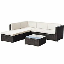 Tangkula 4 PCS Outdoor Patio Wicker Furniture Set Garden Poolside Sectional S...