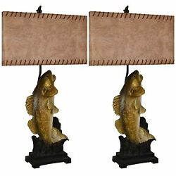 TWO NEW FISH WALLEYE BASS TABLE LAMP LEATHER SHADE LIGHT CABIN LODGE LAKE DECOR