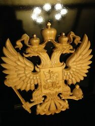 WOODEN CARVED RUSSIAN NATIONAL EMBLEM IN THE ELITE BOX (BEST GIFT DECOR ART)