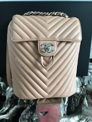 NWT CHANEL URBAN SPIRIT BACKPACK CHEVRON BEIGE CAMEL TAN GOLD NEW CLASSIC FLAP