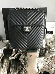 NWT CHANEL URBAN SPIRIT BACKPACK CHEVRON BLACK SILVER LARGE NEW CLASSIC FLAP