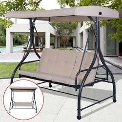 Outdoor Swing Canopy Top Cover Chair Hammock 3 Seats Patio Deck Bench Furniture
