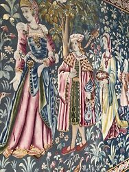 Auth: 19th  C Antique Gothic Revival Aubusson Tapestry 6x7.6 Wool
