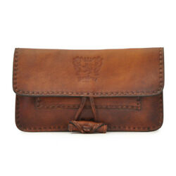 Pratesi Mens Italian Leather Tobacco Holder Pouch Case Wallet in Cow Leather