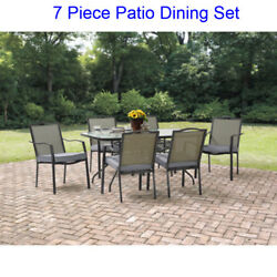 7 Piece Patio Table and Chairs Dining Set Outdoor Garden Furniture Cushion Seats