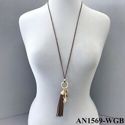 Bohemian Brown Suede Stand Gold Hammered Puma Wood Bead Charm & Tassel Necklace