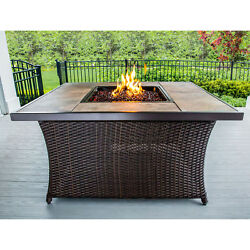 Hanover 40000 BTU Woven Fire Pit Coffee Table With Porcelain Tile Top And Lid