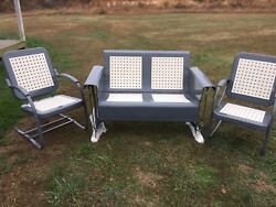 RESTORED VINTAGE METAL GLIDER PORCH PATIO 2SEATER POWDERCOATED RETRO CHAIRS SET