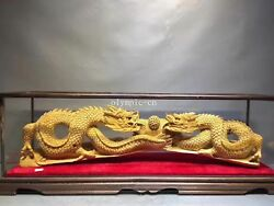 35'' Western red cedar wood home fengshui decor both two dragon play ball statue