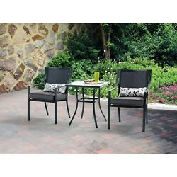 Outdoor Bistro Set Patio Furniture 3 Pieces 2 Seats Glass Table Garden Dining