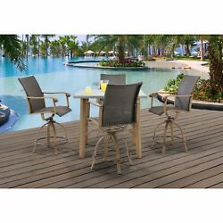 Dining Bar Set Outdoor Resin Wicker Furniture Table Swivel Chair Collection New