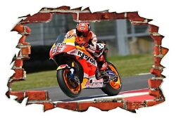 Marc Marquez Superbike Moto GP 3D Smashed Wall Break Out Sticker Wall Art Decals