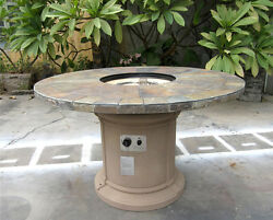 New 2017 Outdoor Natural Slate Fire Pit Outdoor Dining Table Propane Firepit