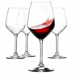 Italian Red Wine Glasses 18 Ounce Lead Free Wine Glass Set of 4 Clear $26.99