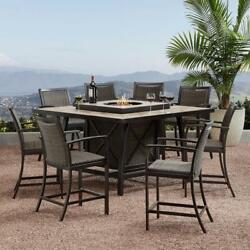 Bar Height Dining Outdoor Furniture Fireplace 9 Pc. Set Agio Denver Cushion Seat