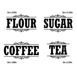 Canister Label Set Decal Stickers Kitchen Home Decor Pantry Flour Sugar Tea Jar $5.00