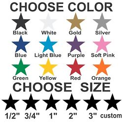 Star stickers Pick your size and color Removable indoor Matte vinyl wall decals. $2.99