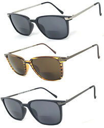 1 or 3 Pair(s) Fashion Square Inner Bifocal Sunglasses Metal Temples Tinted Lens $14.95