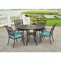 Patio Dining Set 7 Pc Outdoor Furniture W Chairs Seat Cushions Round Table New