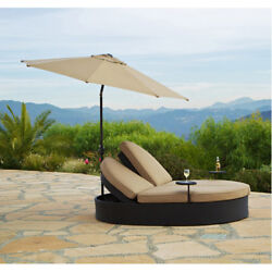 Double Chaise Lounge Chair W Umbrella Garden Outdoor Patio Furniture