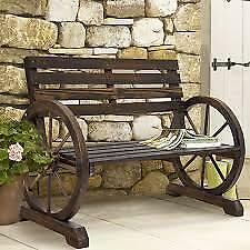 Rustic Western Wooden Wagon Wheel Bench Patio Garden Seating for 2 Furniture