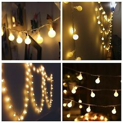 Patio Ball Globe Long String Lights Vintage 100 LED Edison Bulbs 8 Modes 33 Feet