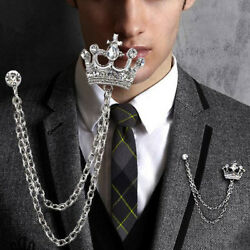 Silver Crown Chain Tassels Suit Brooch Lapel Pin Neck Collar Tip Mens Rhinestone