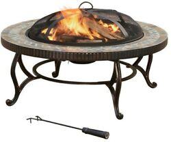 Outdoor Fire Pit Slate Round Mesh Cover Patio Heating Firepit Portable Bronze