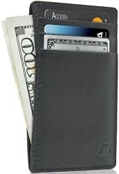 New Genuine Leather Slim Card Holder Wallets For Men Minimalist RFID Blocking $9.99