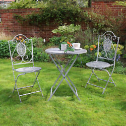 Grey metal folding garden bistro set table chairs ornate vintage outdoor dining