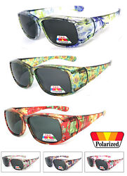 Womens Polarized FIT OVER Sunglasses Cover Rx Glasses Rhinestones Floral Prints  $11.95