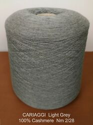Italian Cashmere Yarn cone - CARIAGGI - LIGHT GREY  870g. - Nm 228 (3375 YPP)