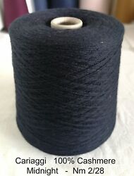Italian Cashmere Yarn cone - CARIAGGI - MIDNIGHT BLUE  780g  Nm 228 (3375 YPP)